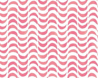 Coral and White Scallop Stripe Cotton Fabric, Lavish by Katarina Roccella for Art Gallery Fabrics, Gentle Draft Sunrise, 1 Yard