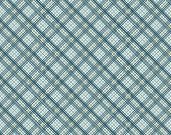 Tonal Blue and Green Plaid Fabric, Offshore by Deena Rutter for Riley Blake Design, Plaid Print in Blue, 1 Yard