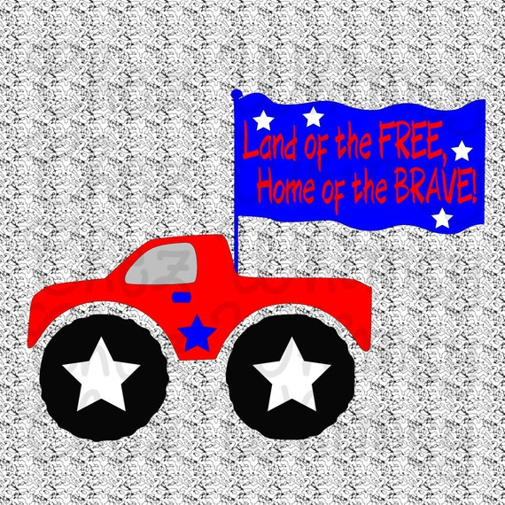 May The Fourth Be With You Svg: 4th Of July Truck SVG Truck SVG Monster Truck With Flag