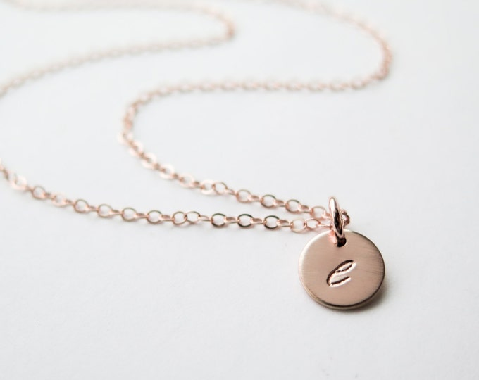 Rose Gold Tiny Initials Necklace / 14k Gold Fill Hand Stamped Delicate Discs Necklace Personalized Customizable by Betsy Farmer Designs