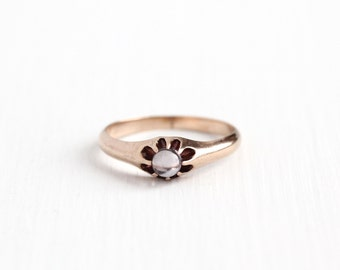 Antique Victorian 10k Rose Gold Solitaire Moonstone Ring - Vintage Size 5 3/4 Edwardian Early 1900s Alluring Orb Gemstone Fine Jewelry