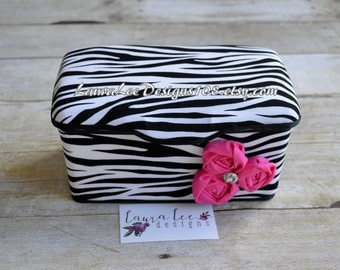 Zebra with Hot Pink Nursery Baby Wipe Case, Personalized Wipe Case, Diaper Wipes Case, Baby Shower Gift, Wipe Holder, Wipes Tub