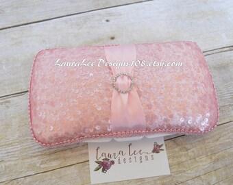 Light Pink Sequin and Rhinestone Accent Travel Baby Wipe Case, Diaper Wipe Case, Elegant Case, Blush Pink, Wipe Holder, Baby Shower Gift