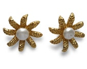 CHANEL Daisy Faux Pearl Earrings