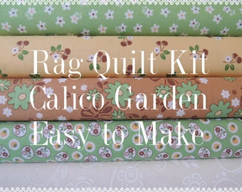 Calico Garden, Kit  1 Rag Quilt Kit, Brown, Yellow, Green, Easy to Make, Personalized, Bin L, Optional Sewing Available