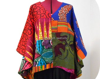 African Patchwork Bohemian Blouse, Vibrant Ankara Kaftan Top, Unique Afro style, Barefoot Modiste Handmade Summer wear, Suited for- up to XL