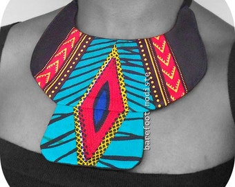 Striking African Bib necklace, Handmade fabric neckwear,  One of a Kind Tribal Patchwork Collar, Unique statement piece, One size