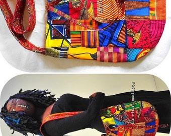 Reversible Boho Shoulder Bag, Handmade by Barefoot Modiste, One of a Kind African Wax Print Patchwork Bag,  OOAK Bohemian Chic, Medium Size