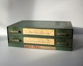 Vintage 2 Drawer Metal Cabinet / Metal Springs Cabinet / Quality Springs Co / Divided Drawer Metal Cabinet / Table Top Metal Cabinet / Green