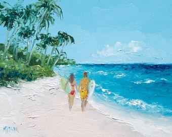 Keawakapu Beach Maui Hawaii, painting, beach art, beach decor, miniature art, beach painting, beach house art, 5x7 art, coastal decor