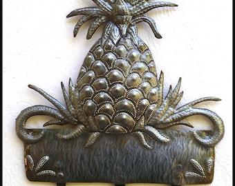 Metal Wall Hook. Pineapple Metal Wall Hanging, Metal Art, Towel Hook, Metal Wall Art, Tropical Wall Decor -  Haitian Steel Drum Art - 322-H