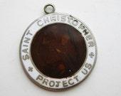 Vintage St. Christopher Protect Us Enamel Religious Medal Necklace Pendant