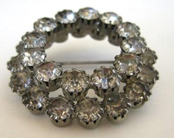Vintage 50s Rhinestone Round Brooch Pin Costume Jewelry