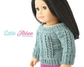 "Download Now - CROCHET PATTERN 18"" Doll Cable Sweater"