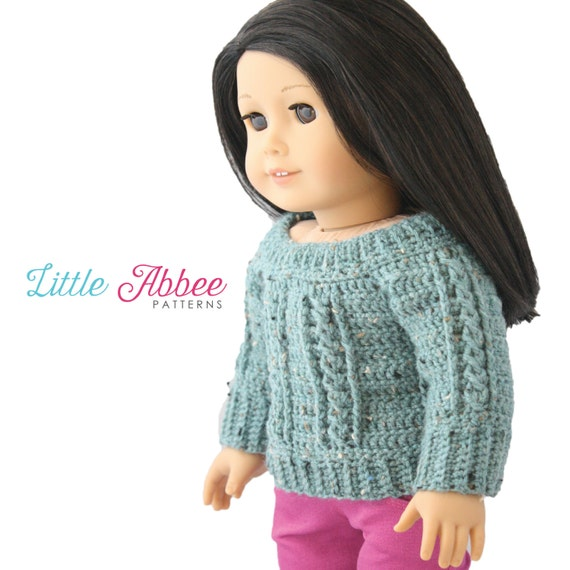 Download Now CROCHET PATTERN 18 Doll Cable Sweater