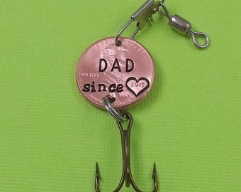 Dad Engraved Penny Fishing lure - Gift for Him - Daughter Gift For - Stamped Penny - Son Gift For - New Daddy - Best Daddy