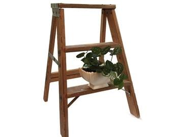 Wooden Folding Step Ladder Industrial Loft Decor Display Shelf Plant Night Book Stand