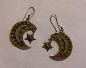 Vintage 1960s Gypsy Hippie Silver Moon & stars Earrings.