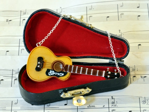 Acoustic Guitar Necklace in Case, Music Necklace, Guitar Jewellery