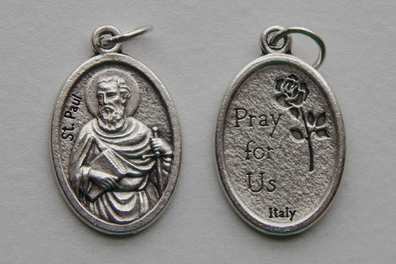 5 Patron Saint Medal Findings - St. Paul, Apostle, Die Cast Silverplate, Silver Color, Oxidized Metal, Made in Italy, Charm, Drop, RM903