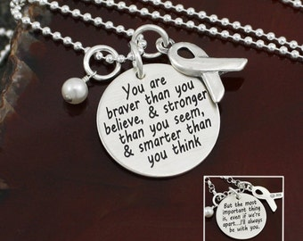 You are Braver Than You Believe Necklace | Awareness Ribbon Necklace | Cancer Support