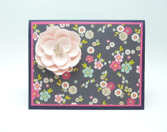 Happy Birthday Greeting Card for Her, Pink Flower Birthday Card, Floral Handmade Card, Paper Flower Fancy Birthday Greeting Card