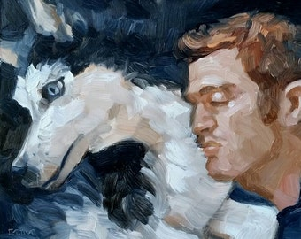 A Boy and His Dog, oil on canvas panel, 11x14 inches by Kenney Mencher (gay art) www.Kenney-Mencher.com