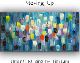 "Huge original modern art Abstract Painting Modern Impasto Texture canvas by Tim Lam 48"" x 24"""