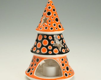 Halloween Decor, Halloween Decoration, Ceramic Star Luminary Candleholder comes with Battery Powered Tea Lite Votive