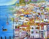 "Haitian Canvas Painting - Seaside Village -  Art of Haiti, Canvas Art, Ethnic Art, Haitian Art, Original Painting - 20"" x 24"""