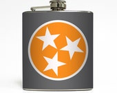 Tennessee State Flag Whiskey Flask Love TN Home Knoxville Volunteers UT Vols Tristar Gift Stainless Steel 6 oz Liquor Hip Flask LC-1569
