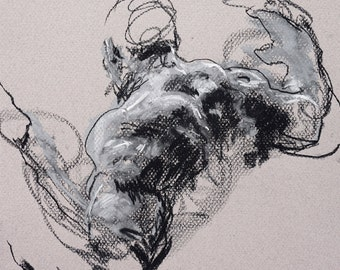 """Classical Male Figure Drawing - Drawing 428 - 9 x 12"""" charcoal and pastel on warm gray paper, original drawing"""