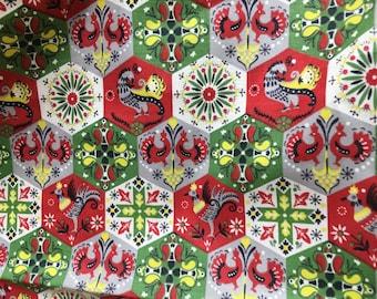 Vintage Fabric Folk Art Christmas Print Pennsylvania Dutch