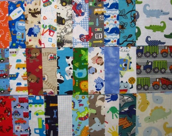 30 Assorted 6 Inch Flannel Squares Destash Baby Boy Fabric Scraps Sewing Quilting Crafting