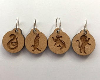 Hogworts House Mascots Stitch Marker Set