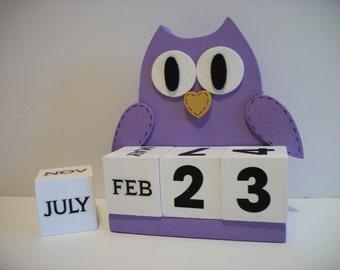Purple Owl Calendar Perpetual Wood Block Purple Owl Decor