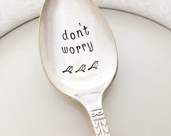 Don't worry. hand stamped spoon, vintage. Bob Marley. Three little birds. Surf club