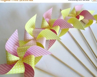 SALE 50% OFF Paper Pinwheels Perfect for an Alice in Wonderland Party Summer Party or Birthday Party or a Baby Shower or a Bat Mitzvah or We