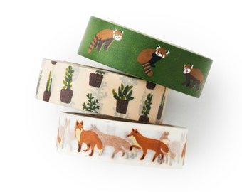 Washi tape 3 set -fox and cactus -winter fox- succulent- value pack- DIY-packaging-decorative tape - weddings - Love My Tapes