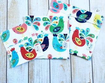 Reusable Snack and Sandwich Bag Bundle You PICK Fabric - Set of 3 - Over 48 choices - Dishwasher safe