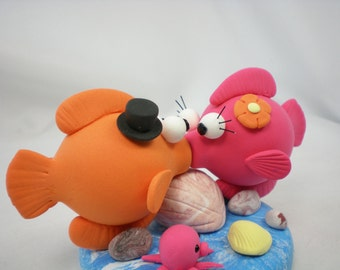 Wedding Cake Topper--Love Fish Couple with sweet kiss with Ocean Theme Base