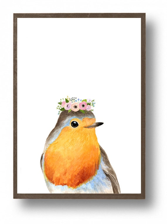 Watercolor Robin With Flower Crowned Woodland Nursery Set