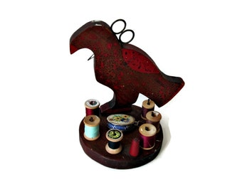 Antique Primitive Americana Handmade Duck Thread Caddy - Wood Thread Spools Collectible Sewing Supplies