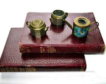 Trio of Antique Miniature  Kettles/Teapots/Collectible MINIATURE Knobby Kraft Tea Ball Infusers/Cloisonne Teapot/Dollhouse Miniatures
