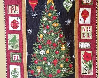 Quilted Christmas Tree Advent Calandar, Embellished with Swarovski Crystal Rhinestones and Lights, Family Heirloom, OOAK, Quiltsy Handmade