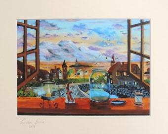 Thumbelina landscape window signed print mounted artwork Gordon Bruce new UK art