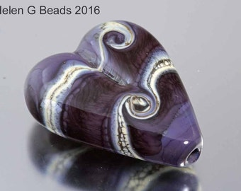 Heart shaped, purple and ivory lampwork bead, handmade by Helen Gorick