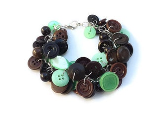 Bracelet Button Charm Bracelet in Mint Green and Dark Chocolate Brown