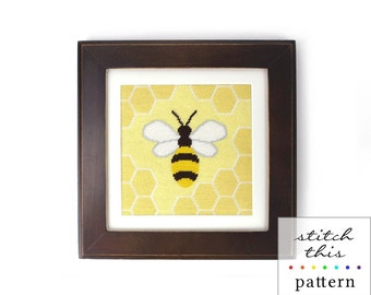small honey bee needlepoint pattern - diy - contemporary - modern - pdf - instant download