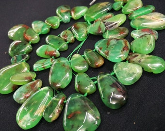 As Pictured- Mint Green Chrysoprase Petal Pendant beads 9x15mm - 19x24mm -13x39mm--Top Drilled-- 38pcs